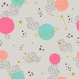 Vector seamless childish pattern with space elements: stars, planets, asteroids. Can be used for kids design, fabric, wallpaper, wrapping, textile, apparel stock illustration