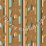 Vector seamless childlike christmas stripped pattern with gingerbread cookies Stock Images