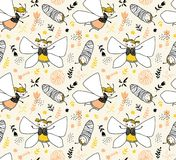 Vector seamless childlike pattern with butterflies. Fabric design. Vector seamless childlike pattern with butterflies. Magic fabric design Stock Photography
