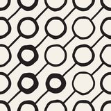 Vector Seamless Childlike Pattern. Monochrome Hand Drawn Geometric Shapes Texture Stock Photo