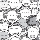 Vector seamless children face. cartoon design Stock Images