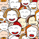 Vector seamless children face. cartoon design Royalty Free Stock Image