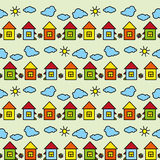 Vector seamless colored pattern drawing houses clouds sun Stock Photo