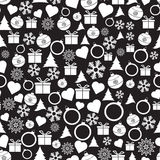Vector seamless Christmas and New Year pattern. Black-white vector Christmas and New Year pattern. Holiday seamless background royalty free illustration