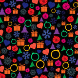 Vector seamless Christmas and New Year pattern. Royalty Free Stock Photos