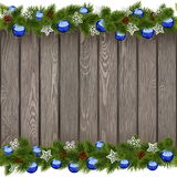 Vector Seamless Christmas Old Board with Blue Balls Royalty Free Stock Image
