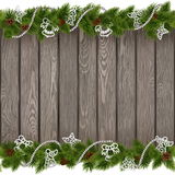 Vector Seamless Christmas Old Board with White Decorations royalty free illustration