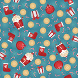 Vector seamless Christmas pattern background with Santa Claus. Gift sack, gingerbread cookies, red sock, white gift box and candy stick Royalty Free Stock Photos
