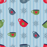 Vector seamless christmas pattern with colorful cups Royalty Free Stock Image