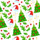 Vector seamless christmas pattern with fir tree, red decoration balls, santa hat isolated on white background. Cartoon style. New year and merry christmas card Royalty Free Stock Photos
