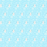 Vector seamless Christmas pattern with snowflakes and snowman Royalty Free Stock Photography