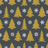 Vector Seamless Christmas patterns on black background Stock Photos