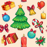Vector seamless christmas red colorful  pattern. With tree and balls and candies and candles Royalty Free Stock Images