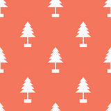 Vector Seamless Christmas Tree Pattern on Red Background Stock Photography