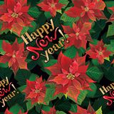 Vector seamless Christmas vintage style pattern with blooming poinsettia and hand lettering royalty free illustration