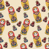 Vector Seamless classic folklore pattern of Russian Dolls and flowers. Stock Photo