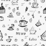 Vector seamless coffee background. Vector coffee seamless background in the style of drawing by hand Royalty Free Illustration