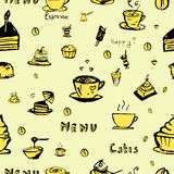 Vector seamless coffee background. Vector coffee seamless background in the style of drawing by hand Vector Illustration