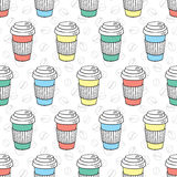 Vector seamless coffee pattern Stock Images