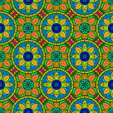 Vector Seamless Color Floral Mandala Pattern Stock Photos