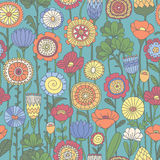 Vector seamless color floral pattern Stock Photo