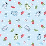 Seamless color pattern houses, cars, teddy bears. Vector seamless color pattern houses, cars, teddy bears Stock Images