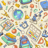 Vector seamless color pattern of sketchy school supplies. Stock Image