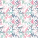Vector seamless color pattern of spirals, swirls, doodles and flowers Stock Photo