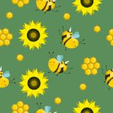 Vector seamless color pattern. Summer composition with honeycombs, bees, flowers. Use it as pattern fills, web page background, stock illustration