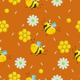 Vector seamless color pattern. Summer composition with honeycombs, bees, flowers. Use it as pattern fills, web page background, vector illustration