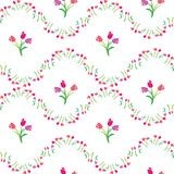Vector seamless color pattern of tulips. Vector illustration seamless pattern tulips Royalty Free Stock Photo