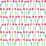 Vector seamless color pattern of tulips. Vector illustration seamless pattern tulips royalty free illustration