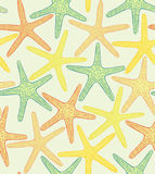 Vector seamless colored background with starfishes. Vector seamless hand drawn colored background with starfishes Stock Images