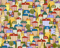 Vector seamless colored city background with cute houses and trees royalty free illustration