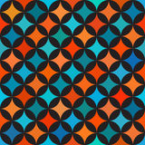 Vector Seamless Colorful Blue Orange Shades Circle Star Quilt Tiling Pattern on Dark Background Royalty Free Stock Image