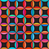 Vector Seamless Colorful Circle Star Quilt Tiling Pattern on Dark Background Royalty Free Stock Photos