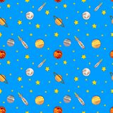Vector Seamless Colorful Cosmos Pattern, Spaceships, Stars and Planets. vector illustration