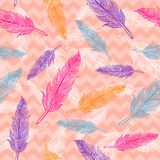 Vector seamless colorful feathers pattern Royalty Free Stock Photos