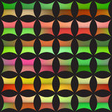 Vector Seamless Colorful Gradient Rounded Star  Quilt Tiling Black Arc Grid Pattern Stock Images