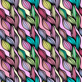 Vector seamless colorful hand drawn pattern. Wave fantasy backgr Royalty Free Stock Photo