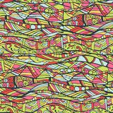 Vector seamless colorful pattern, hand drawn, doodles. Royalty Free Stock Images