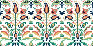 Vector seamless colorful pattern in paisley style. Vintage decorative background. Hand drawn ornament. Oriental bohemian. Motifs. Wallpaper, fabric, paper print stock illustration