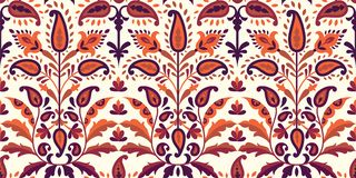 Vector seamless colorful pattern in paisley style. Vintage decorative background. Hand drawn ornament. Oriental bohemian. Motifs. Wallpaper, fabric, paper print royalty free illustration