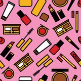 Vector seamless colorful pattern of a woman`s makeup. vector illustration