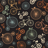 Vector seamless colorful retro vintage bicycle Stock Image