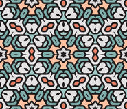 Vector Seamless Colorful Rounded Floral Oriental Hexagonal Mandala Pattern Royalty Free Stock Photography