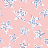 Vector seamless colorful stars pattern. Rose Quartz and Serenity colors. Seamless stars pattern. Hand drawn abstract background in vector format. Colorful Stock Image