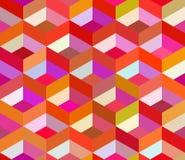 Vector Seamless Colorful Vivid Geometric Blocks Isometric Tiling Pattern Stock Photography