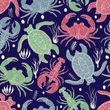 Vector Seamless Colourful Pattern with Turtles, Crabs and Lobsters. Retro vintage style royalty free illustration