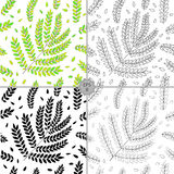 Vector Seamless Contour Floral Pattern. Hand Drawn Floral Texture, Decorative Leaves, Coloring Book. Vector Seamless Contour Floral Pattern. Hand Drawn stock illustration